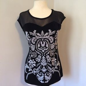 Filigree Beaded Sleeveless Black Velvet Top